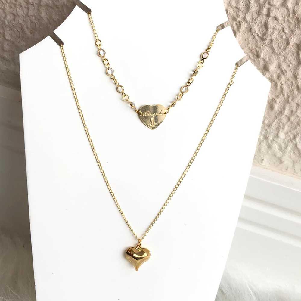Colar folheado a ouro feminino duplo cristais e coração abençoada