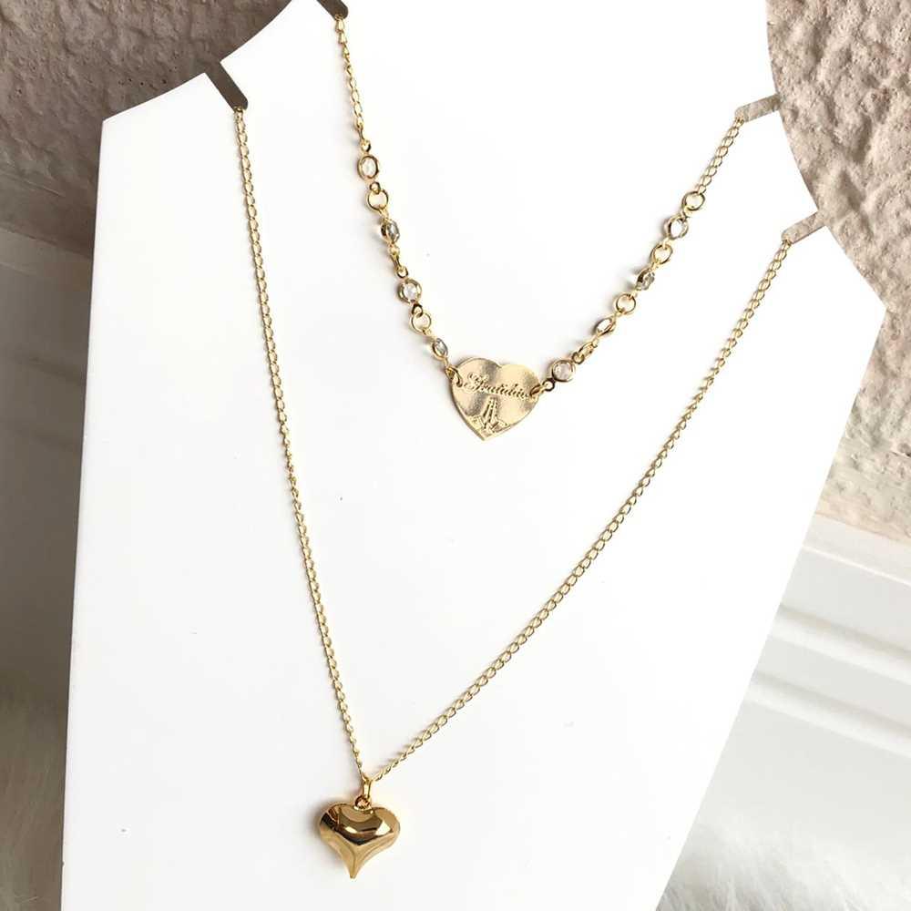 Colar folheado a ouro feminino duplo cristais e coração gratidão