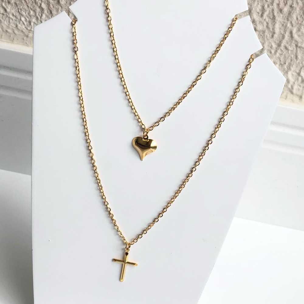 Colar folheado a ouro feminino duplo pingentes de coração e cruz
