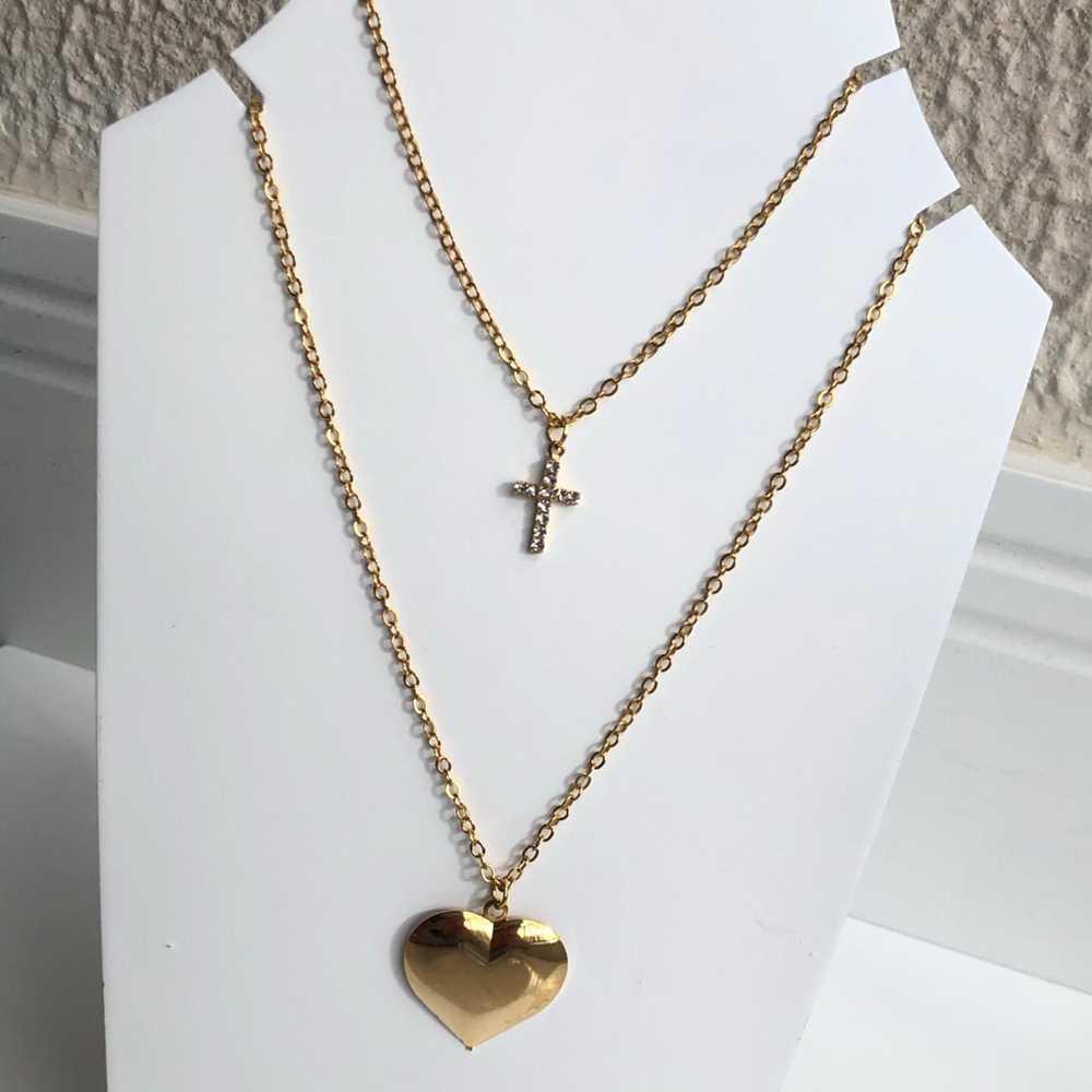 Colar folheado a ouro feminino duplo pingentes de coração e cruz cravejada