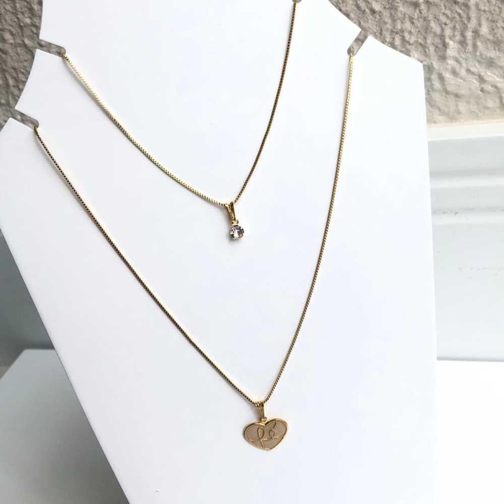 Colar folheado a ouro feminino duplo pingentes de coração FÉ e ponto de luz