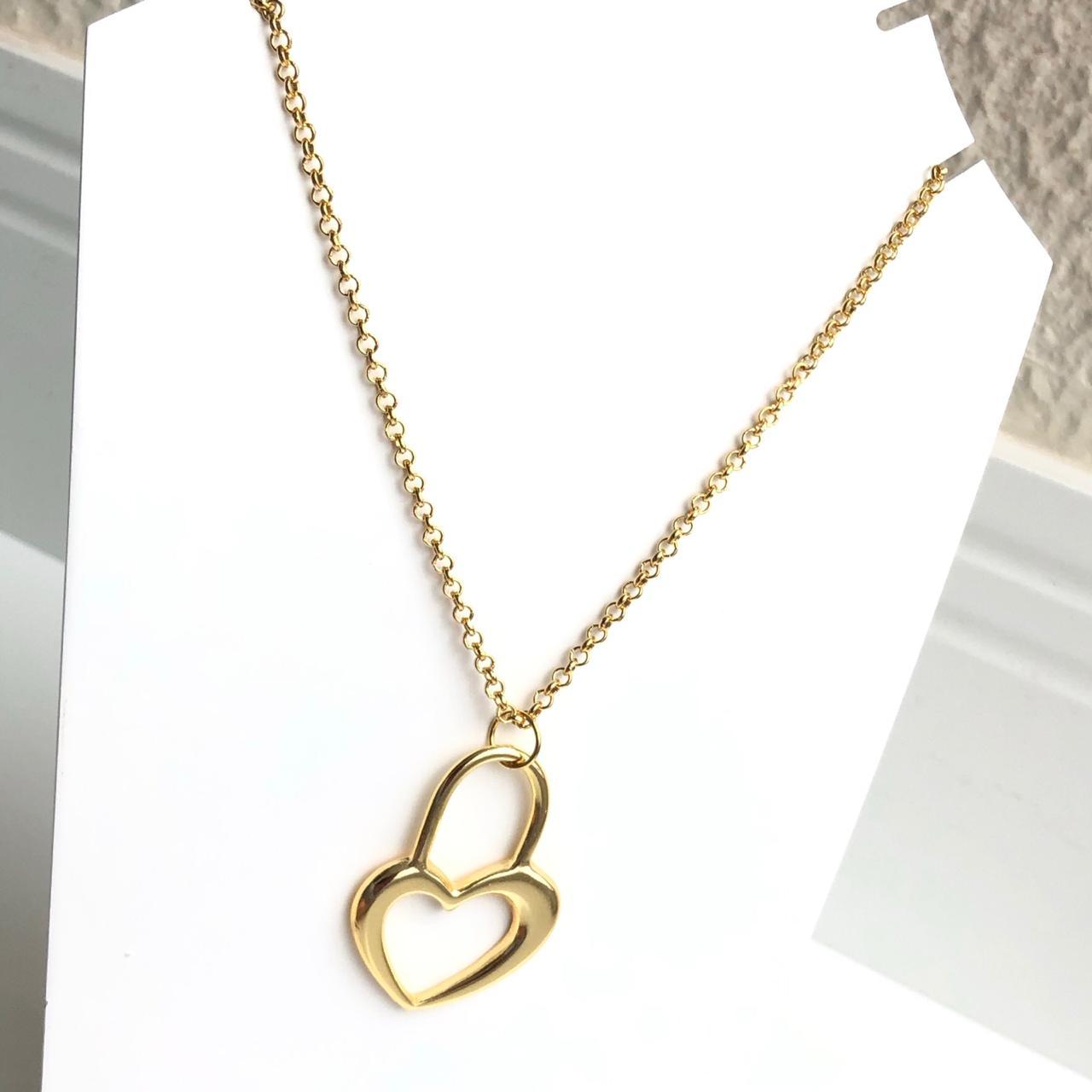 Colar folheado a ouro feminino elos português pingente grande coração em cadeado