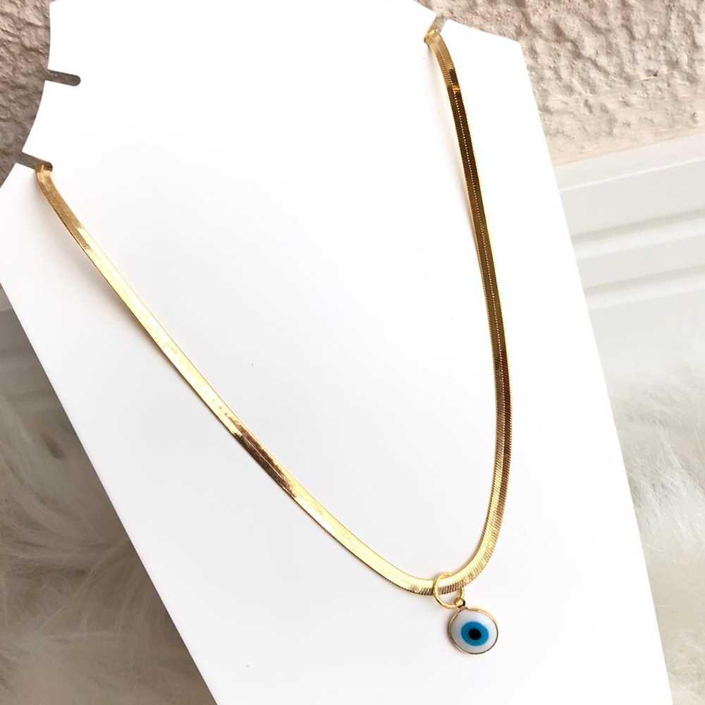 Colar folheado a ouro feminino fita lisa com pingente de olho grego