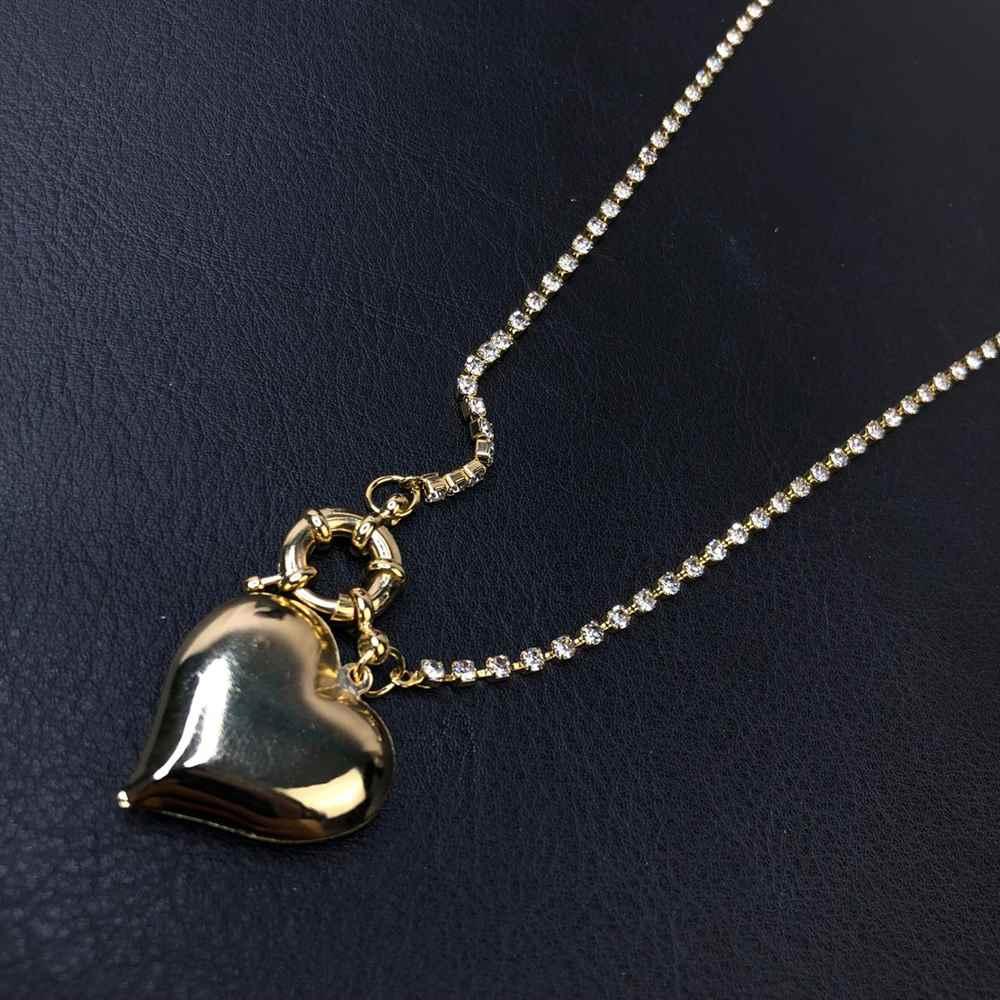 Colar folheado a ouro feminino riviera cravejado em strass e fecho boia pingente de coração