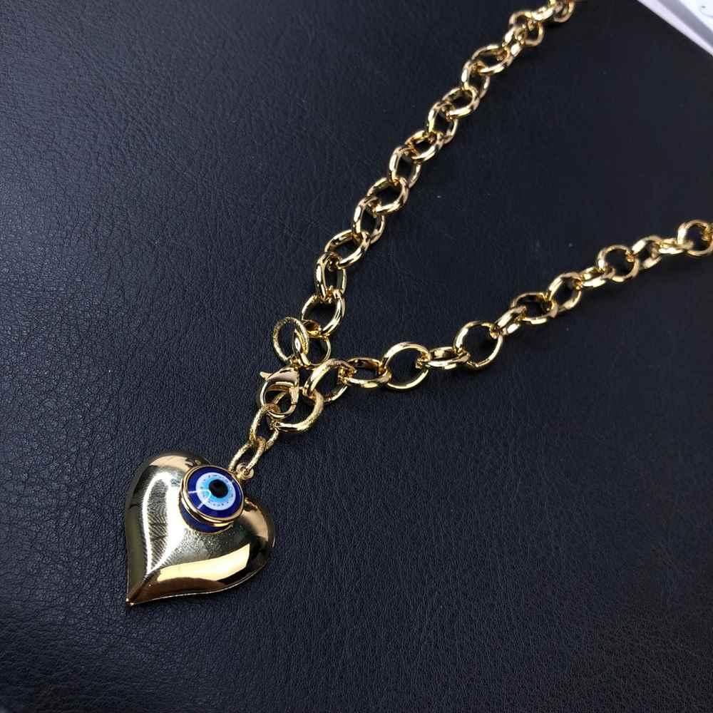 Colar folheado feminino dourado correntaria elos pingente coração e olho grego