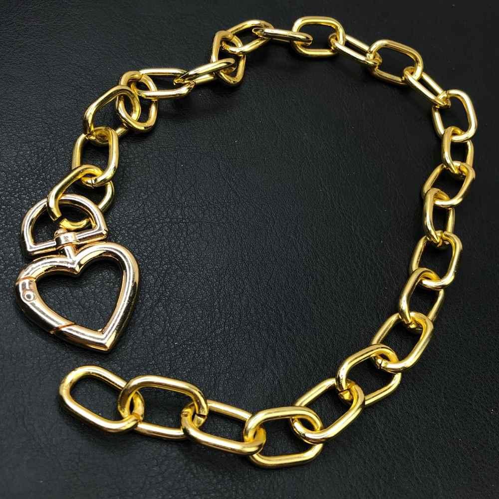 Colar folheado feminino dourado correntaria elos pingente coração mosquetão original