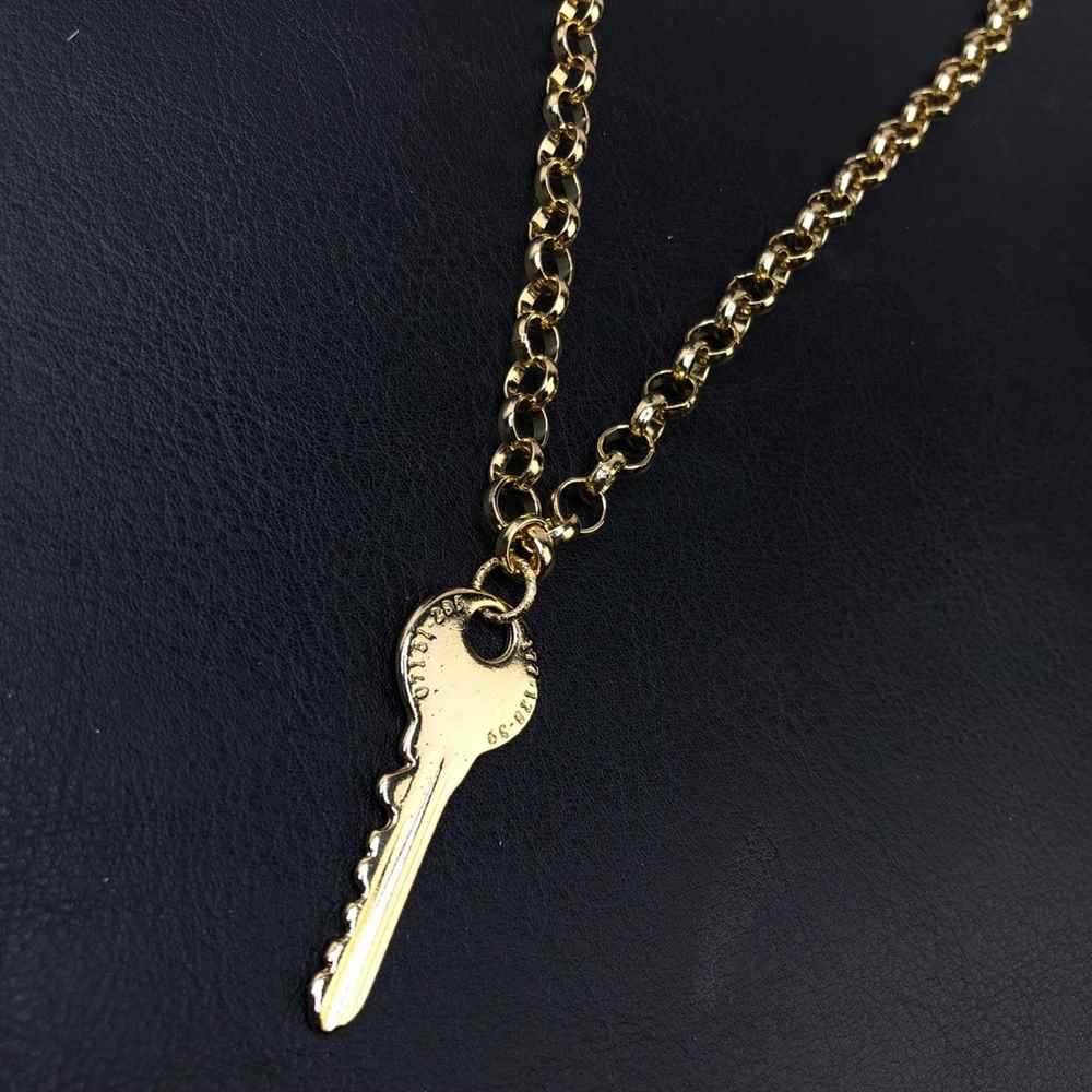 Colar folheado feminino dourado correntaria elos português pingente chave