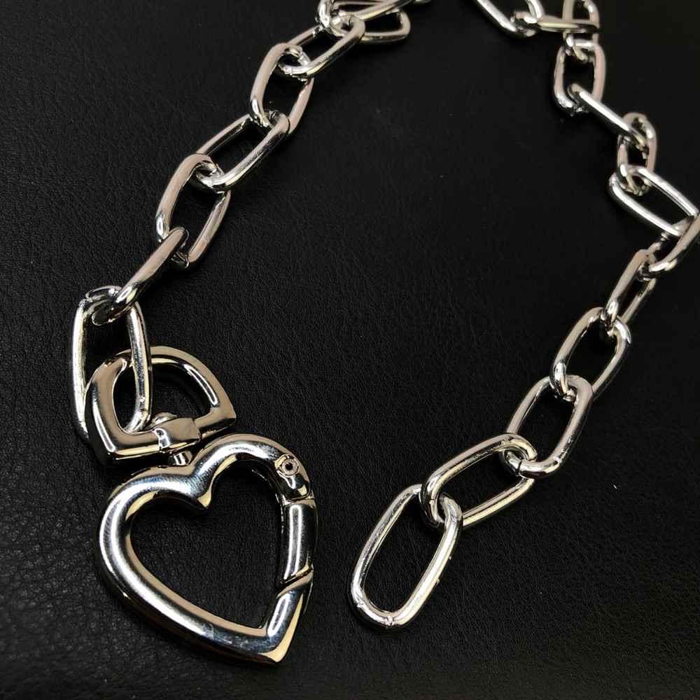 Colar folheado feminino prata correntaria elos pingente original coração mosquetão