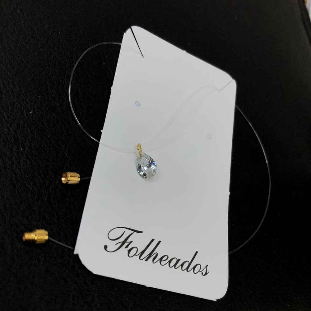 Colar ponto de luz prata fio de nylon folheado gotinha zircônia