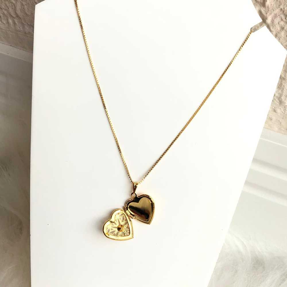Colar relicário folheado a ouro feminino coração relicário
