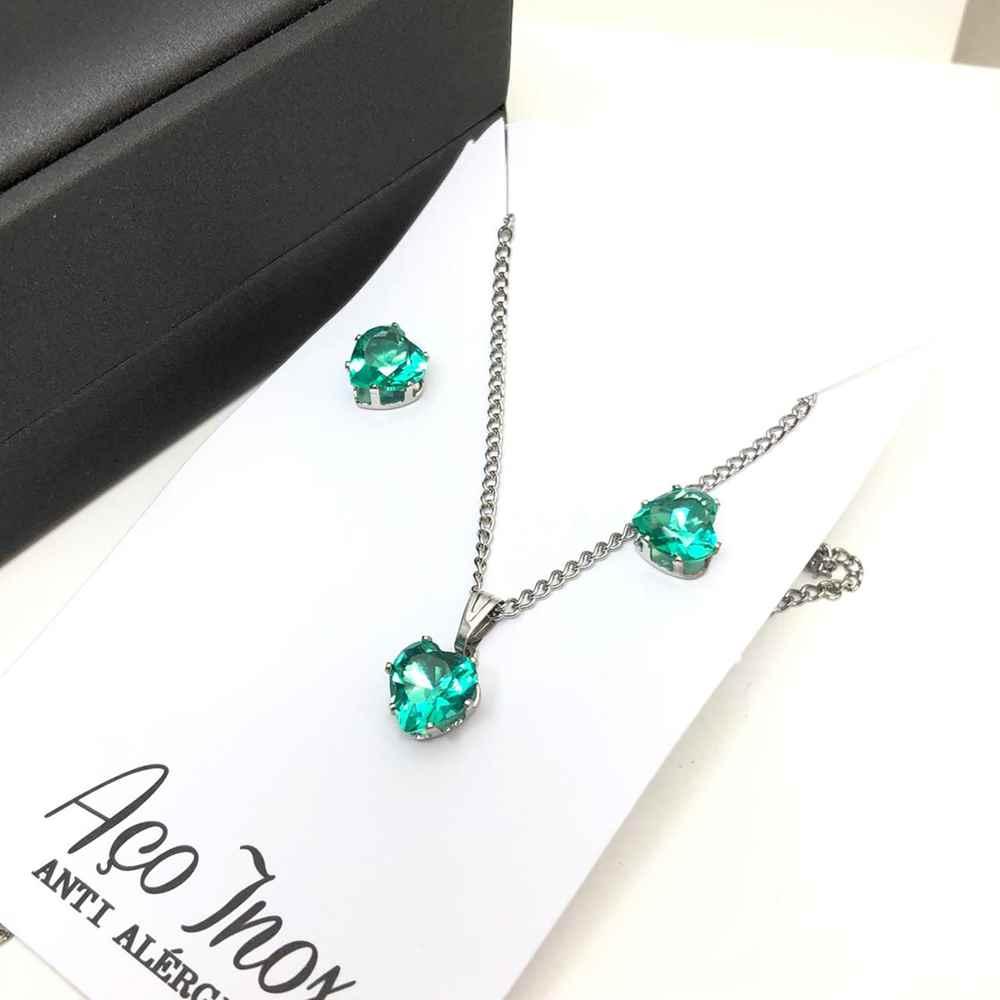 Conjunto colar e brinco com pedra coração verde água aço inox antialérgico