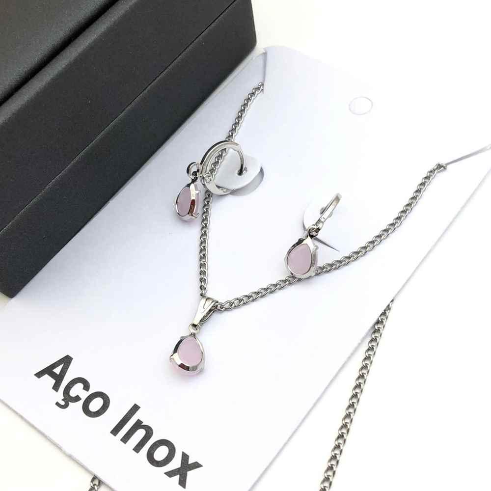 Conjunto colar e brinco argolinha com pedra gotinha rosa candy aço inox antialérgico