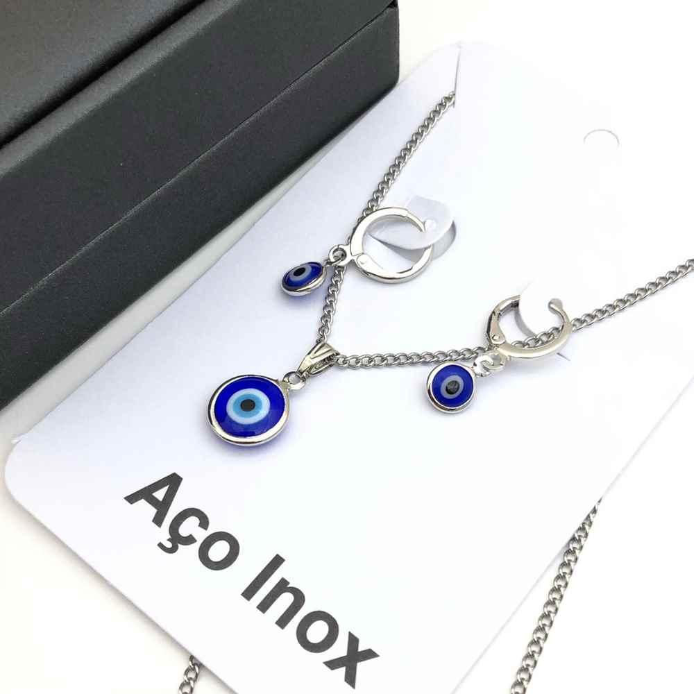 Conjunto colar e brinco argolinha olho grego aço inox antialérgico