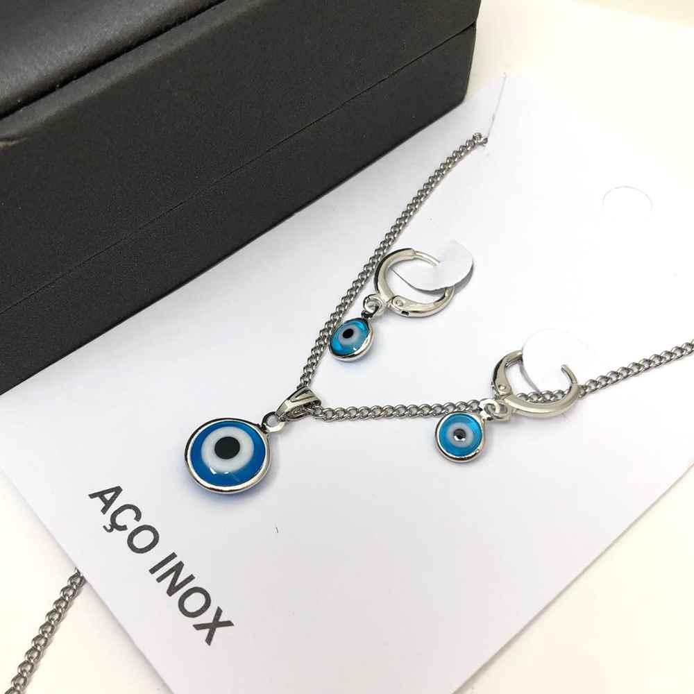Conjunto colar e brinco argolinha olho grego azul piscina aço inox antialérgico