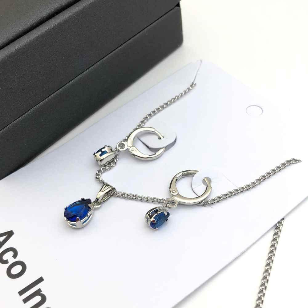Conjunto colar e brinco argolinha prata de pedra de gotinha azul marinho aço inox antialérgico