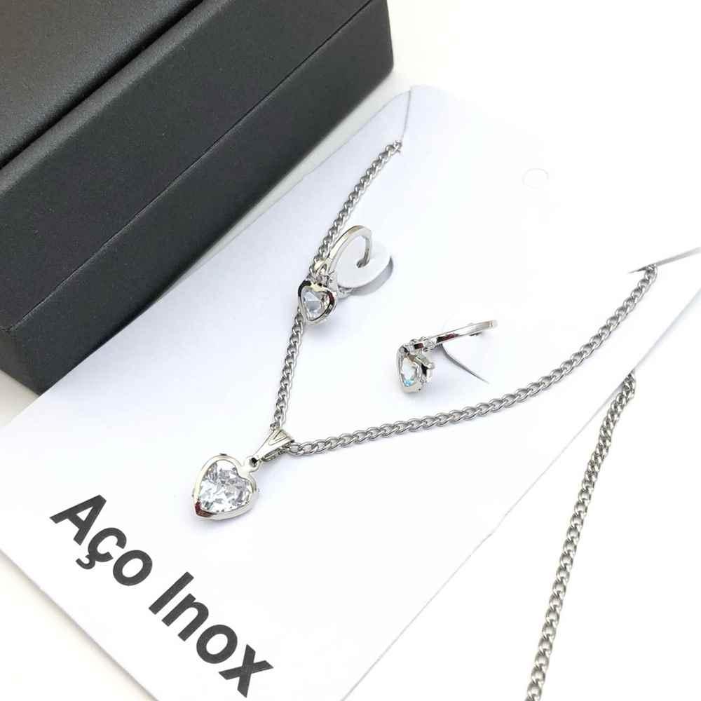 Conjunto colar e brinco argolinha prata pedra coração ponto de luz aço inox antialérgico
