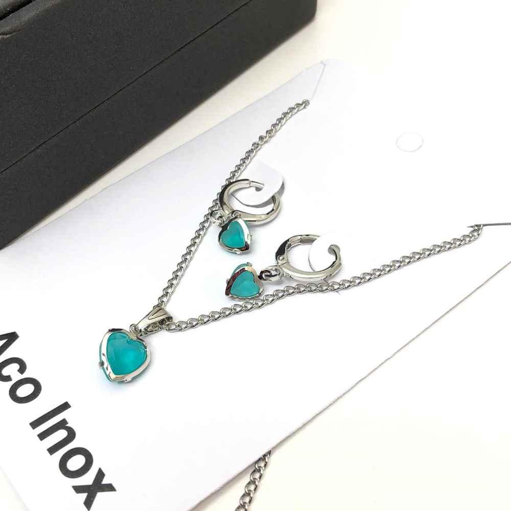 Conjunto colar e brinco argolinha verde azulada pedra coração ponto de luz aço inox antialérgico