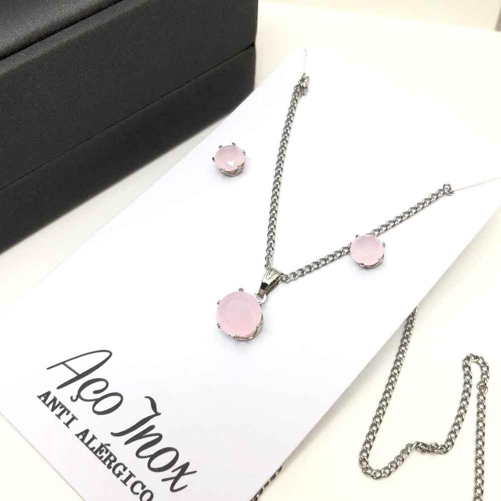Conjunto colar e brinco pedra bolinha rosa candy ponto de luz aço inox antialérgico