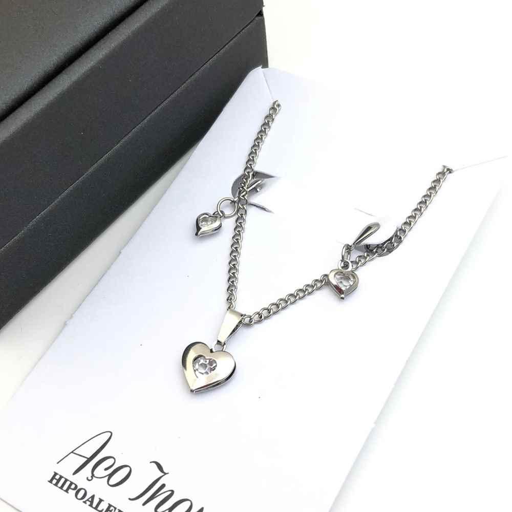 Conjunto colar e brinco prata de coração ponto de luz aço inox antialérgico
