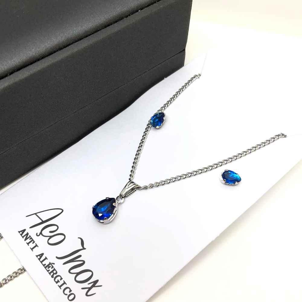 Conjunto colar e brinco prata de pedra de gotinha azul marinho aço inox antialérgico