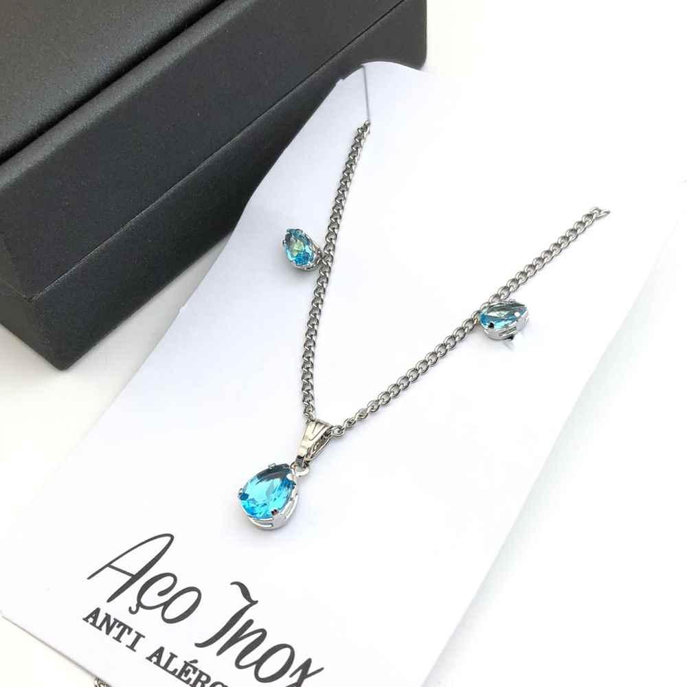 Conjunto colar e brinco prata de pedra de gotinha azul piscina aço inox antialérgico
