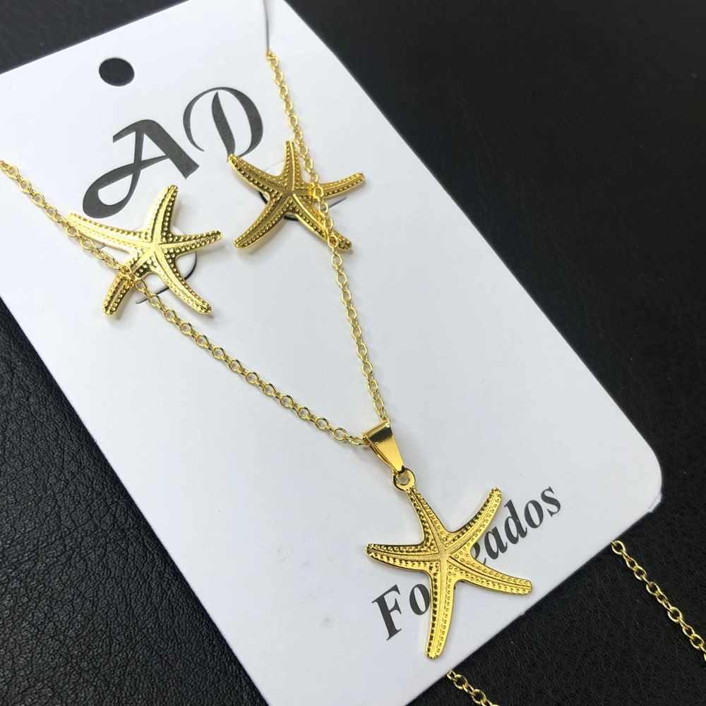 Conjunto de colar e brinco folheado estrela do mar
