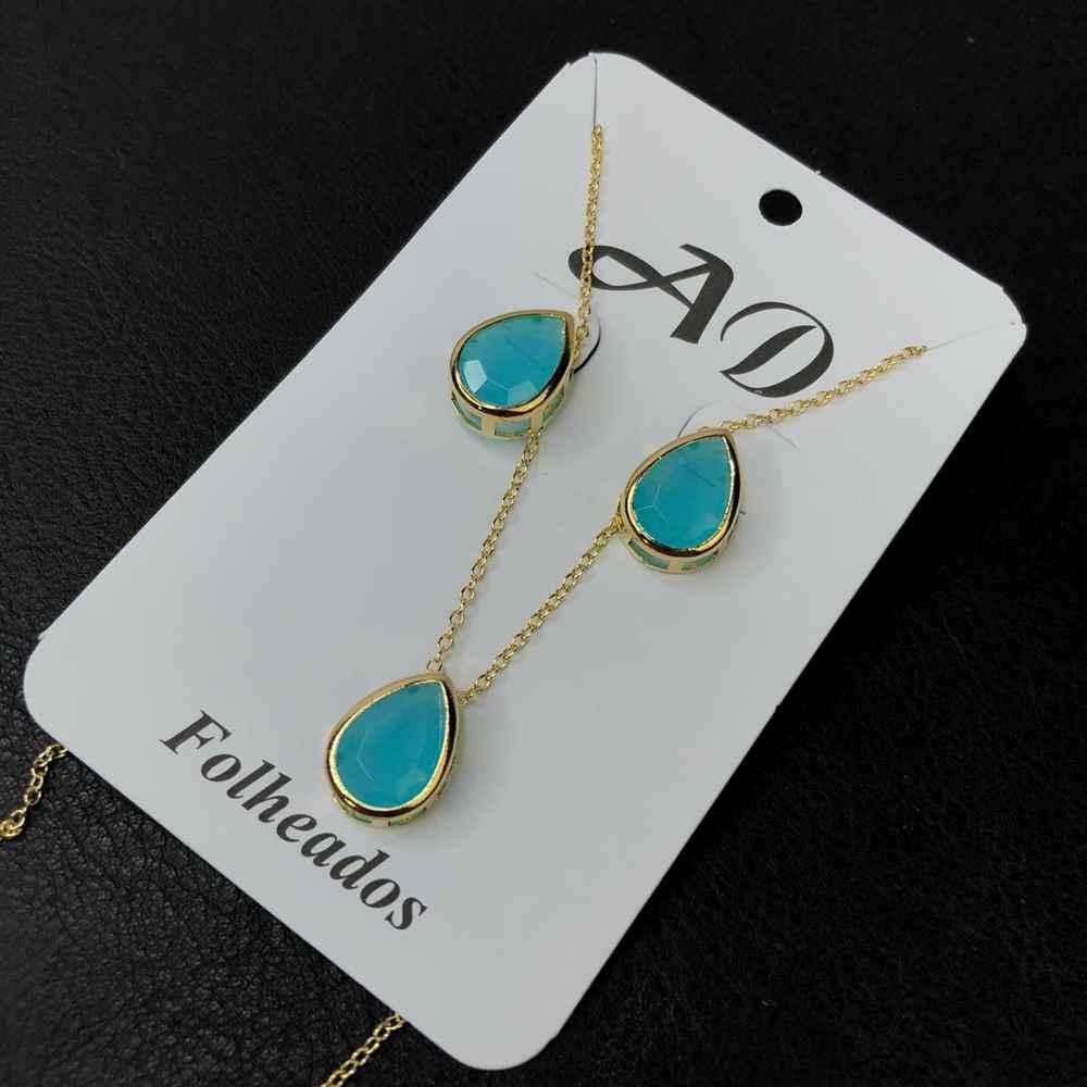 Conjunto de colar e brinco folheado gotinha azul celeste liso