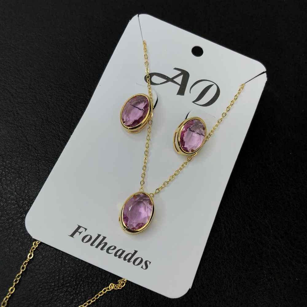 Conjunto de colar e brinco folheado pedra oval rosa bebê liso