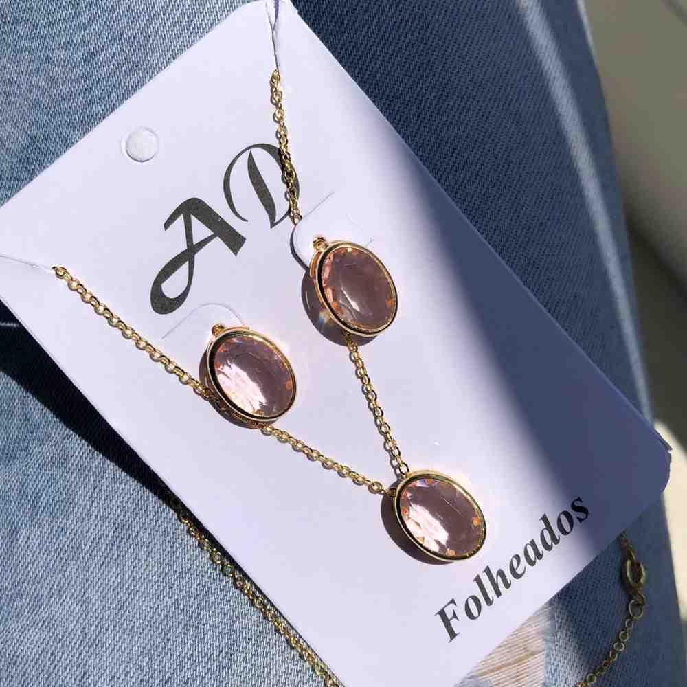 Conjunto de colar e brinco folheado pedra oval rose