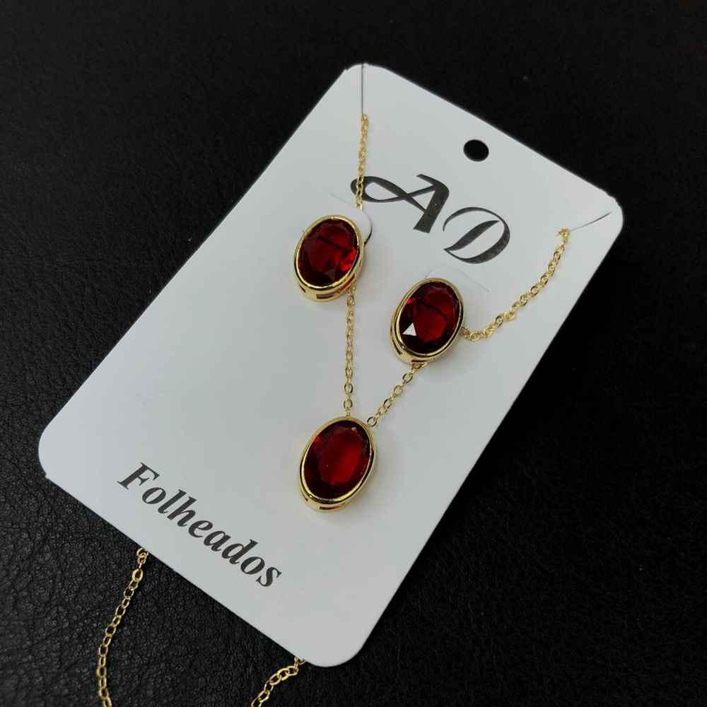 Conjunto de colar e brinco folheado pedra oval vermelha