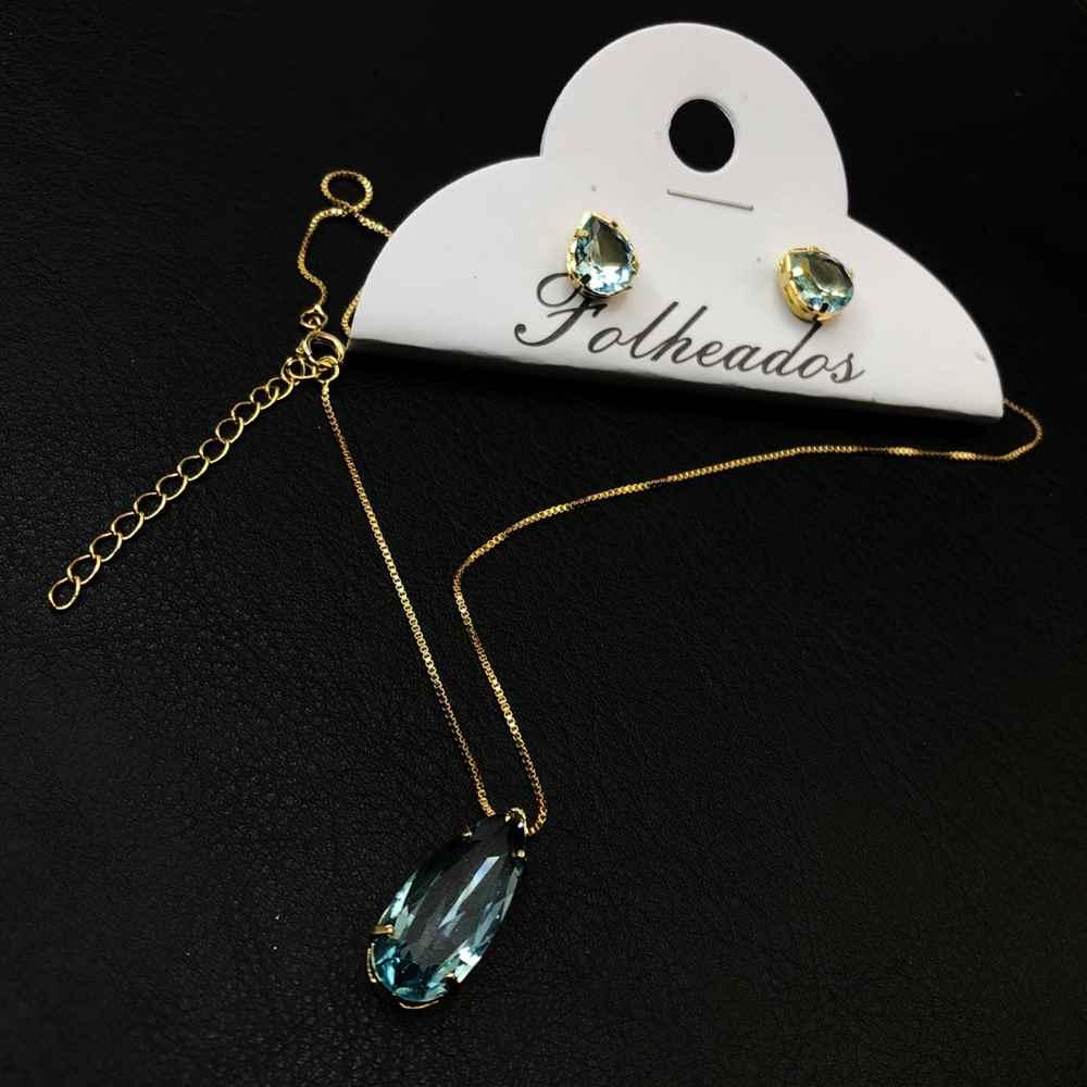 Conjunto de colar e brinco folheado pêndulo de gotinha azul bebê