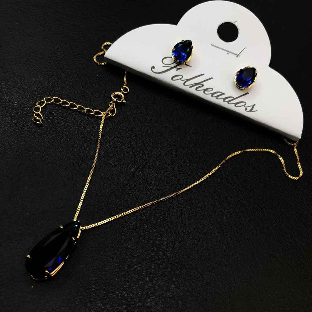 Conjunto de colar e brinco folheado pêndulo de gotinha azul marinho