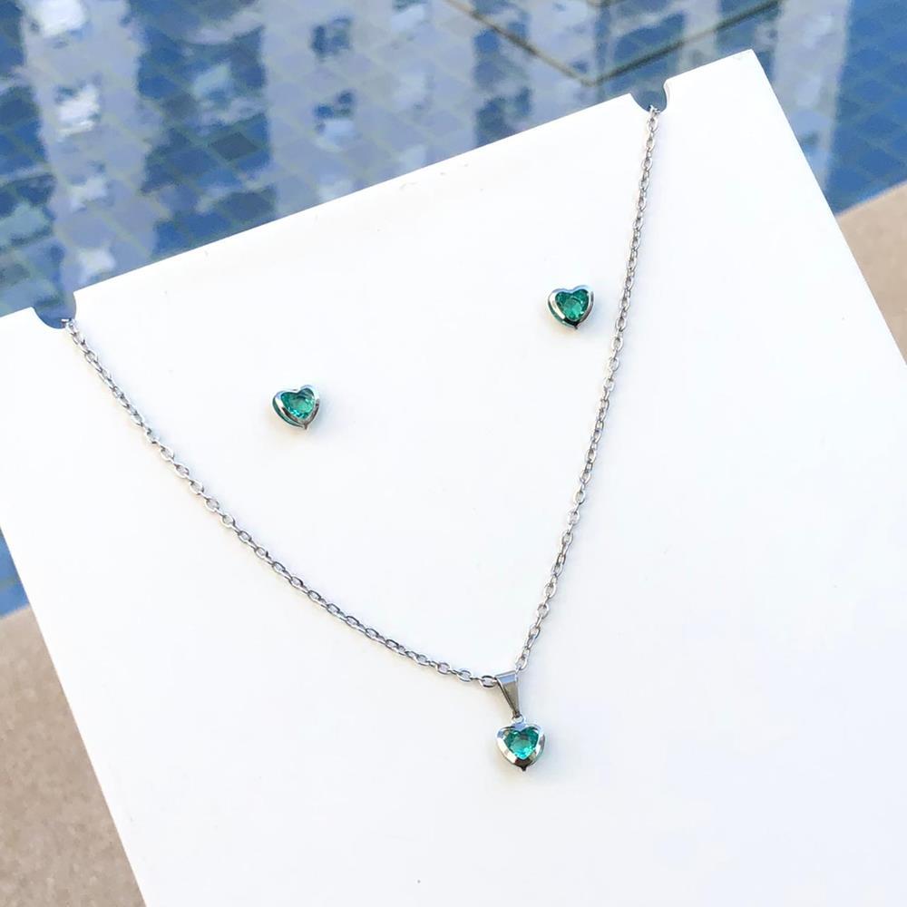 Conjunto de colar e brinco infantil coração verde água aço inoxidável antialérgico