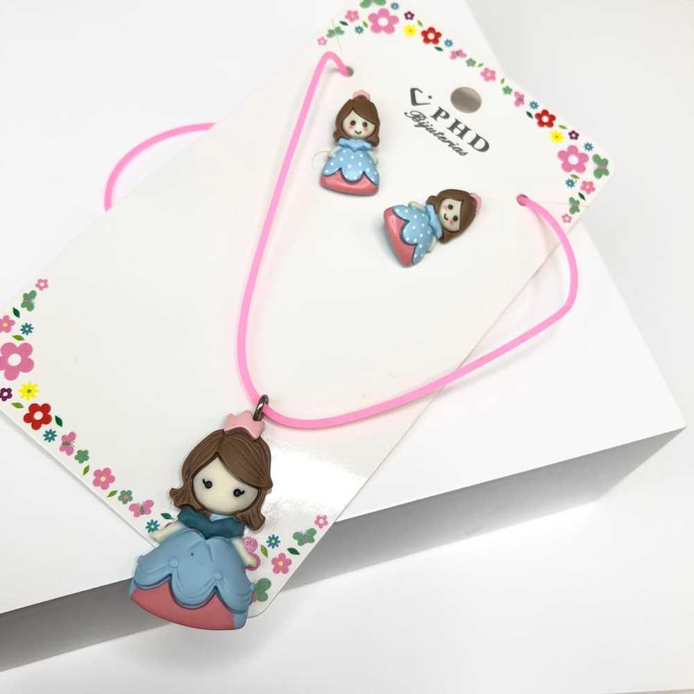 Conjunto de colar e brinco infantil silicone princesa azul