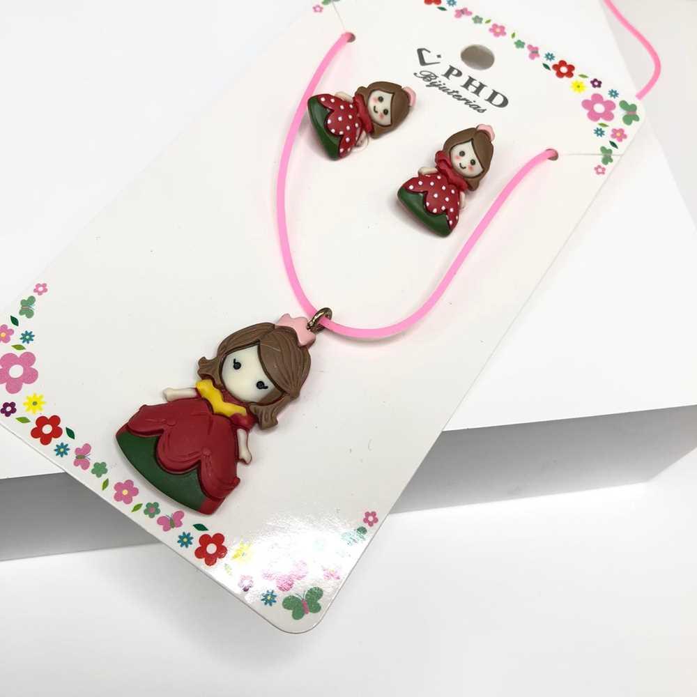 Conjunto de colar e brinco infantil silicone princesa vermelha