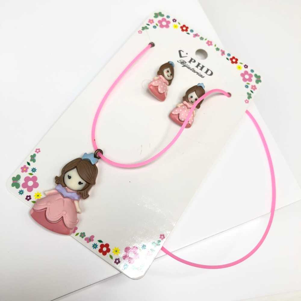 Conjunto de colar e brinco infantil silicone princesa rosa