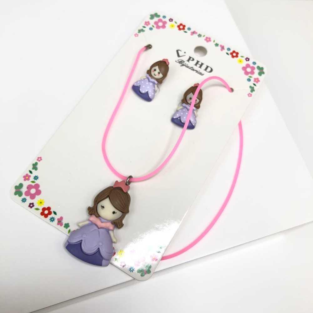 Conjunto de colar e brinco infantil silicone princesa lilás