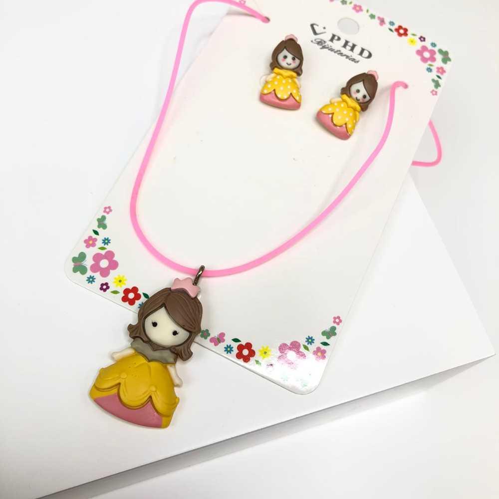 Conjunto de colar e brinco infantil silicone princesa amarela