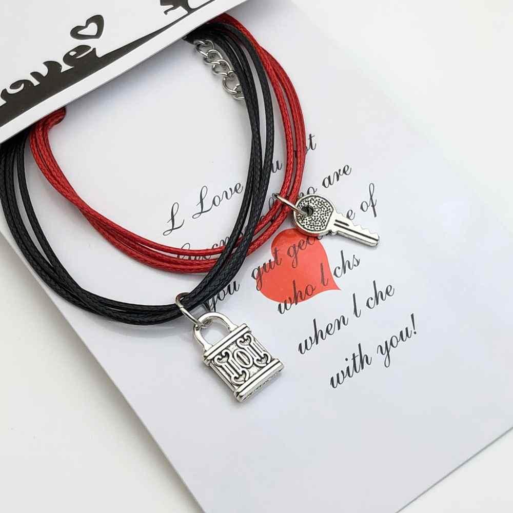 Pulseira Casal Pulseira de Amizade Kit com 2 vermelha e preta pingente chave e cadeado