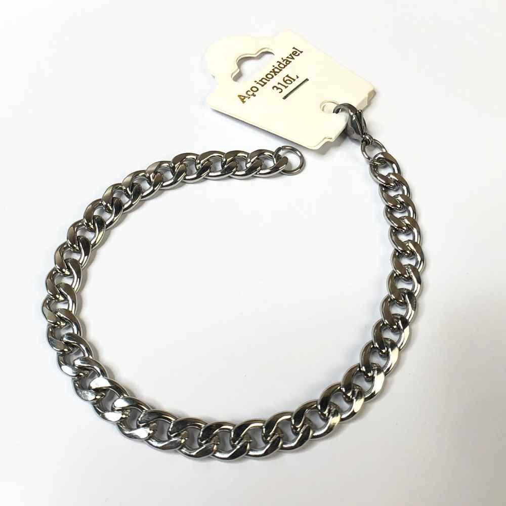 Pulseira de aço masculina groumet prata 7mm aço inoxidável