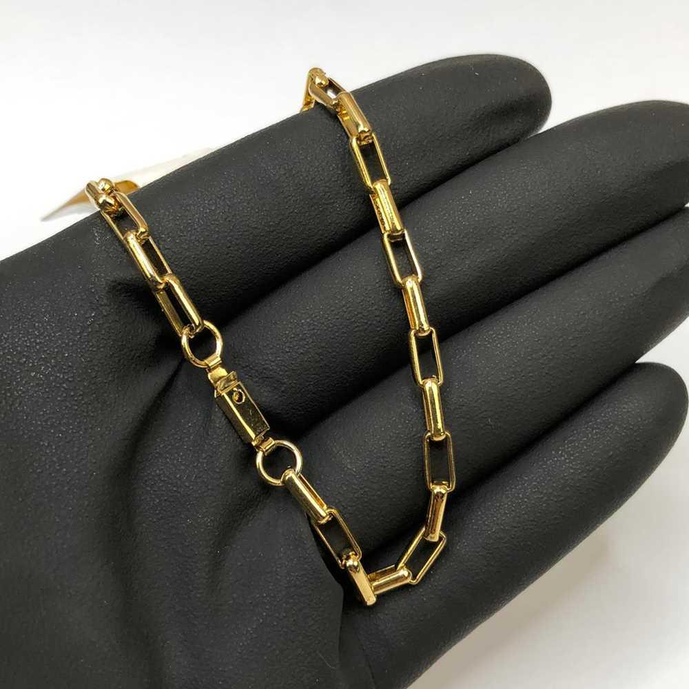 Pulseira Masculina 3mm Elos Quadrado Dourado Aço Inoxidável
