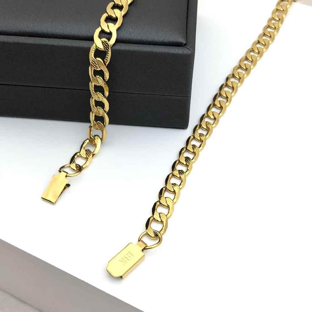 Corrente groumet fígaro 1 por 1 estilo cravejada dourada banhada aço inoxidável 7mm - 60cm