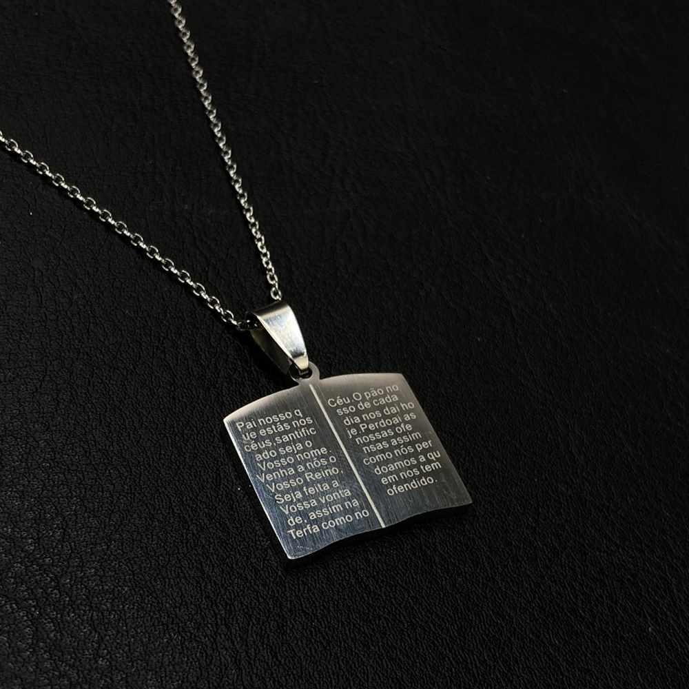 Corrente masculina Biblia com oração pai nosso prata aço inoxidável - 50cm