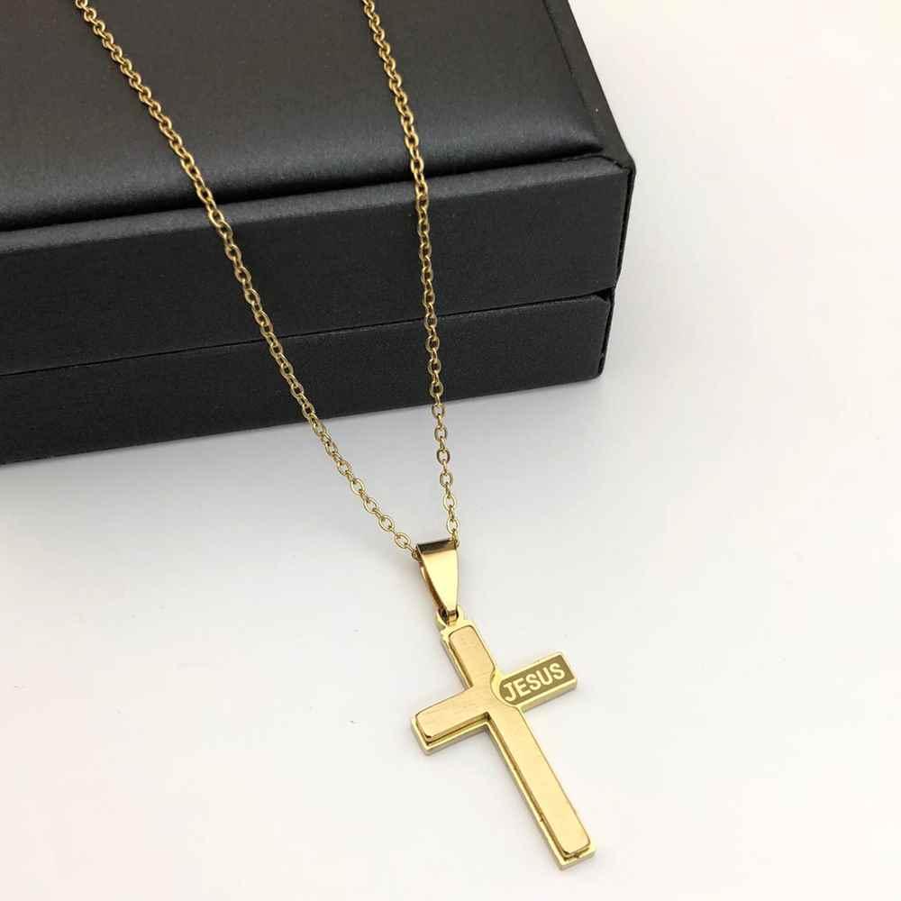 Corrente masculina com pingente cruz e nome Jesus dourado banhado aço inoxidável
