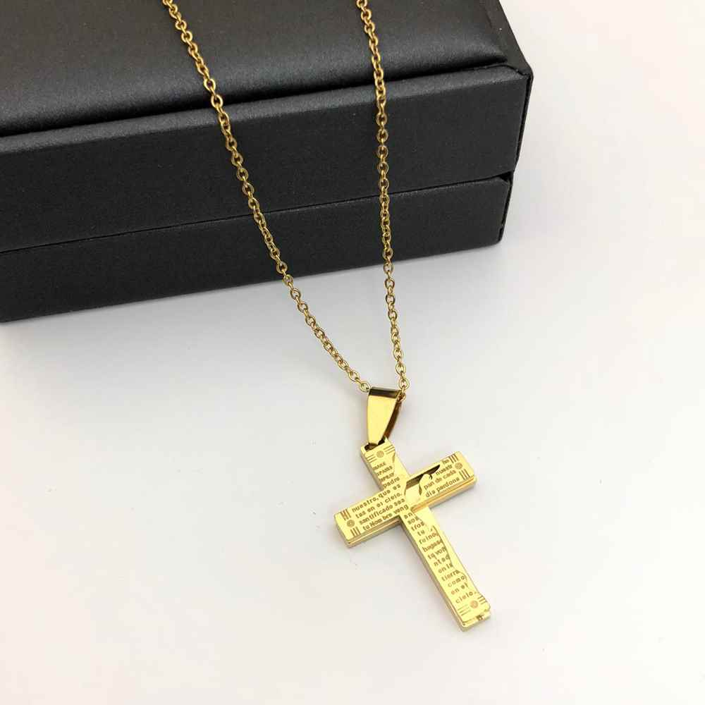 Corrente masculina com pingente cruz oração pai nosso dourado banhado aço inoxidável