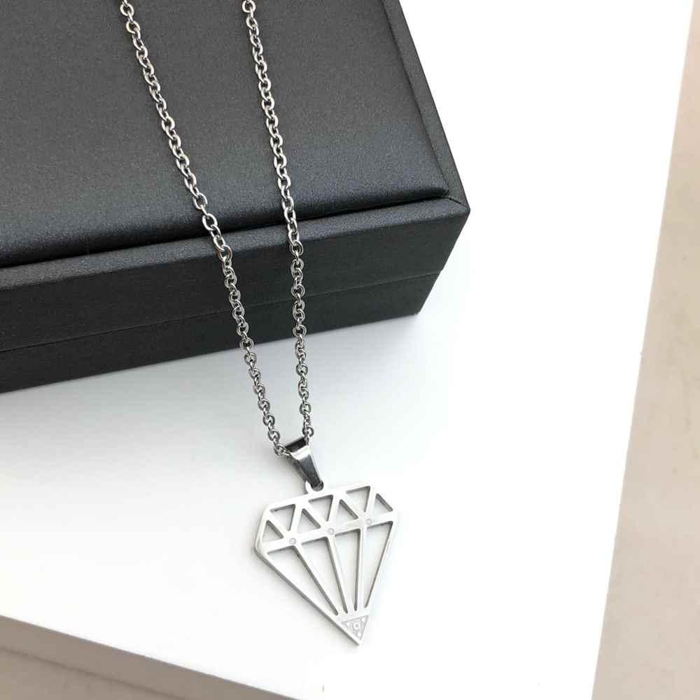 Corrente masculina com pingente de diamante prata aço inoxidável