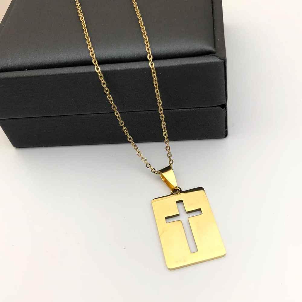Corrente masculina com placa de pingente cruz vazada dourada banhada aço inoxidável