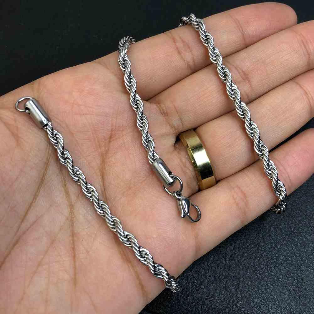 Corrente masculina cordão baiano aço inoxidável 4mm - 55cm