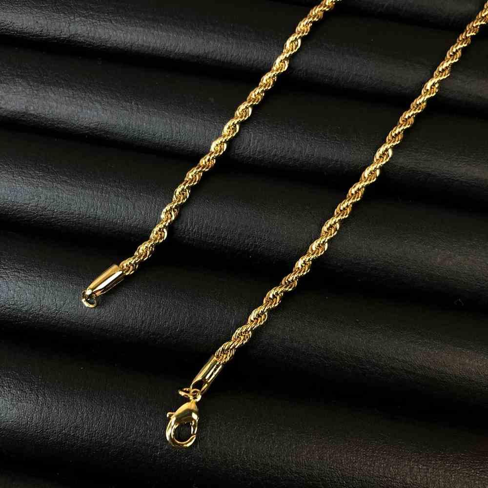 Corrente masculina cordão baiano de aço inox dourado - 2,5mm 45cm