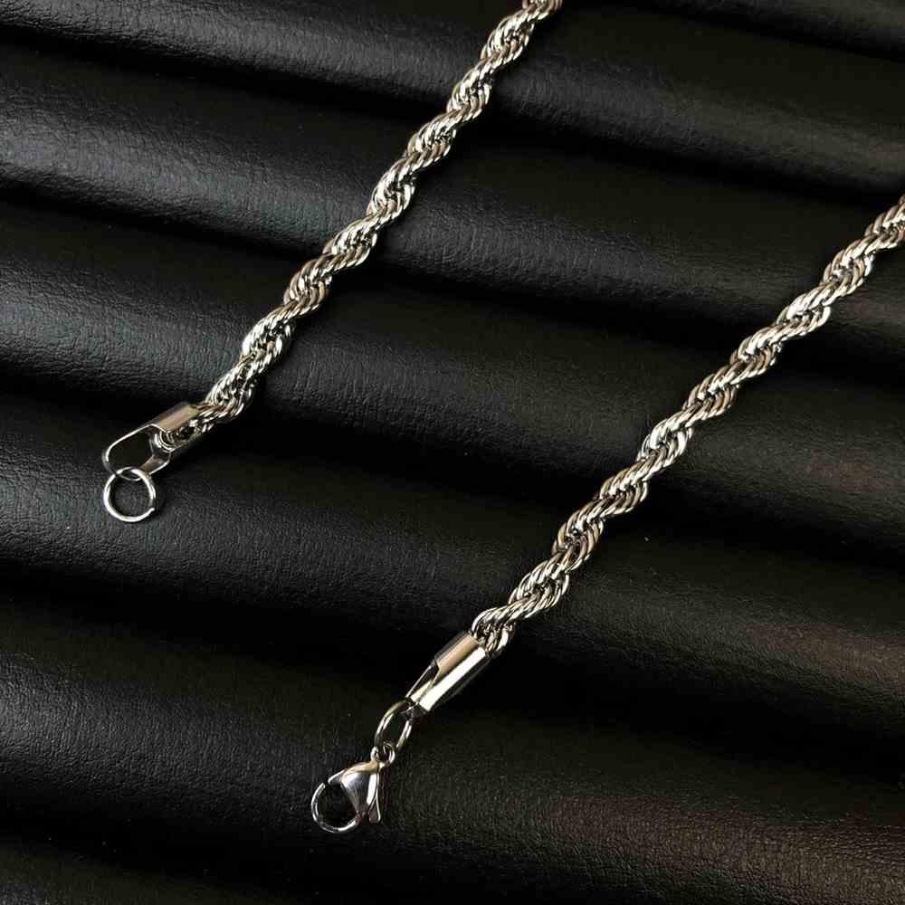 Corrente masculina cordão baiano de aço inox prata - 4mm - 70cm